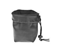 Bag, leather black pouch Stock Photography