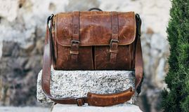 Bag, Leather, Brown, Material Stock Photo