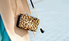 Bag in leopard print close-up. Small leather handbag in female hands. Woman walking in the city. Girl in a beige coat royalty free stock images