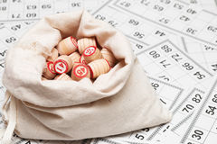 Bag with lotto-casks Royalty Free Stock Photos