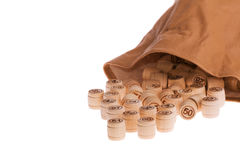 Bag with lotto-casks Royalty Free Stock Photography