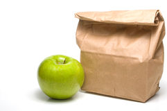Bag Lunch and an Apple Stock Image