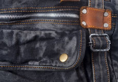Bag made of black jeans. Detail of the modern female bag made of jeans stock photography