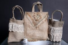 Bag made out of natural eco recycled Hessian sack Stock Photo