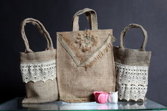 Bag made out of natural eco recycled Hessian sack Royalty Free Stock Images