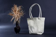 Bag made out of natural eco recycled Hessian sack with rye Stock Image