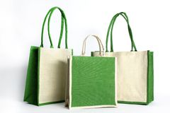 Bag made out of recycled Hessian sack Stock Photography