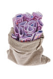 Bag with many bills  Royalty Free Stock Photography