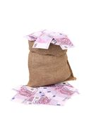 Bag with many euro banknotes. Isolated on a white background Royalty Free Stock Photography