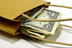 Bag of Money. Brown Paper Bag WIth Money royalty free stock photos