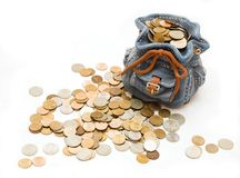 Bag with money. Funny bag with much money Royalty Free Stock Photography