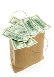 Bag with money. Bag with hundred dollar bills Stock Photo