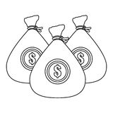 Bag with money. Bags with money icon over white background.  illustration Royalty Free Stock Images