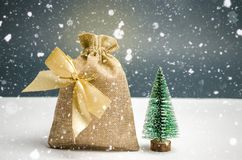 A bag of money with the Christmas tree. Christmas shopping and preparing for the holiday. The accumulation of money for gifts. New stock images