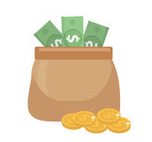 Bag money and coins icon flat style. isolated on white background. Vector illustration, clip art Stock Photography