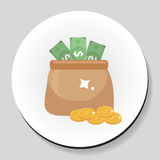 Bag of money and coins sticker icon flat style. Vector illustration. Royalty Free Stock Images