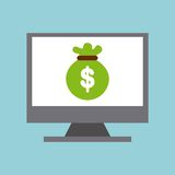 Bag money in computer display isolated icon design. Illustration  graphic Stock Photos