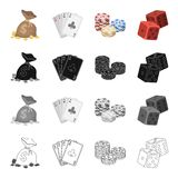 A bag of money, a deck of cards, chips in the casino, dice, cubes. Casino set collection icons in cartoon black. Monochrome outline style vector symbol stock vector illustration