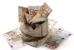 Bag of money. With different euro bills stock images