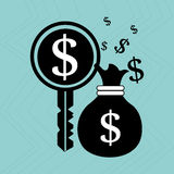Bag money dollar key. Illustration eps 10 Royalty Free Stock Photography