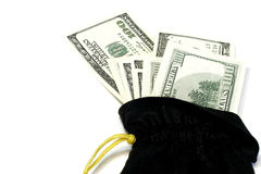 Bag With Money Dollars. Black sack with money 100 dollar currency concept Stock Photos