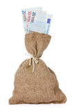 Bag of money with  euro currency Royalty Free Stock Photo