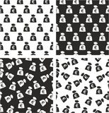 Bag Of Money With Euro Symbol Aligned & Random Seamless Pattern Set Royalty Free Stock Photography