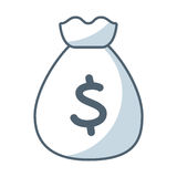 Bag money flat line icon. Illustration design Royalty Free Stock Photo