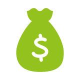 Bag money flat line icon. Illustration design Royalty Free Stock Photography