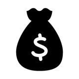 Bag money flat line icon. Illustration design Royalty Free Stock Image