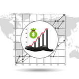 Bag money graph oil industry growth diagram background. Vector illustration eps 10 Stock Photos
