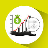 Bag money graph oil industry growth diagram background. Vector illustration eps 10 Stock Photo
