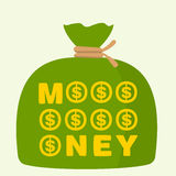 Bag of money. On green background Royalty Free Stock Photo