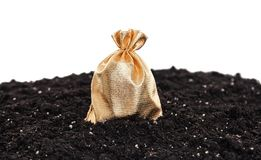 Bag of money is on the ground. Golden bag with the money on the ground stock photography