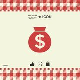 Bag of money icon with dollar symbol. Element for your design Stock Images