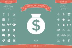 Bag of money icon with dollar symbol. Element for your design . Signs and symbols - graphic elements for your design Stock Image