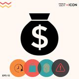 Bag of money icon with dollar symbol. Element for your design Stock Photography