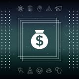 Bag of money icon with dollar symbol. Element for your design Royalty Free Stock Photos