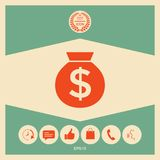 Bag of money icon with dollar symbol. Element for your design Royalty Free Stock Image
