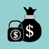 Bag money padlock dollar Stock Photography