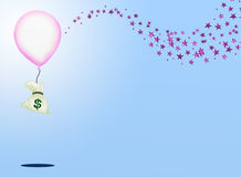 A Bag of Money and A Pink Balloon with Sparking Pi Stock Photography