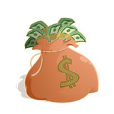 Bag with money Stock Image