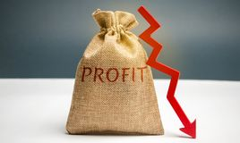Bag with money and word profit and down arrow. Unsuccessful business and poverty. Profit decline. Loss of investment. Low wages. Economic crisis. The fall of royalty free stock image