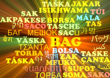 Bag multilanguage wordcloud background concept glowing Stock Photos