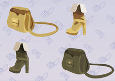 Bag-n-boot. Two colour-matching sets of a boot and a bag on background bag and boot pattern Stock Images