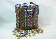 Bag of Naira note Cash and local currencies. Bags of Naira Cash in local currencies stock image