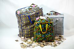 Bag of Naira note Cash and local currencies. Bags of Naira Cash in local currencies royalty free stock images