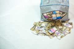 Bag of Naira note Cash and local currencies. Bags of Naira Cash in local currencies stock images
