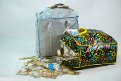 Bag of Naira note Cash and local currencies. Bags of Naira Cash in local currencies stock photo