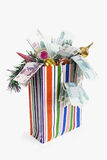 Bag with New Year's toys and denominations. On the white background Stock Image